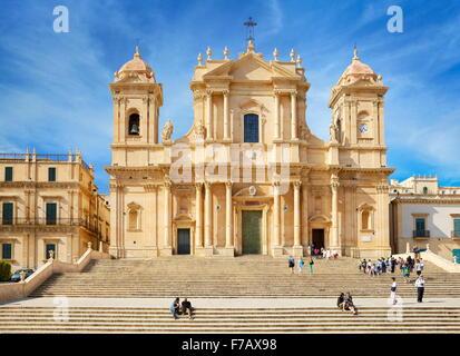 Noto - baroque Cathedral of San Nicolo, Noto, Sicily, Italy UNESCO - Stock Photo