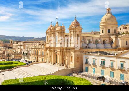 Noto Baroque Cathedral of San Nicolo, Noto Old Town, Sicily, Italy UNESCO - Stock Photo
