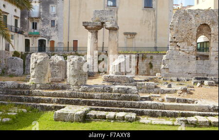 Ruins of Temple of Apollo, Ortigia, Siracusa, Sicily, Italy UNESCO - Stock Photo