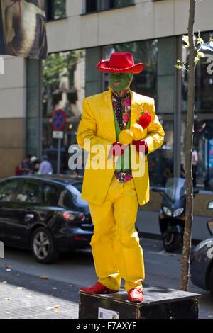 The mask statue on La Rambla in Barcelona - Stock Photo