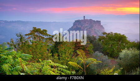 View of old city Bagnoregio at sunrise, Italy - Stock Photo