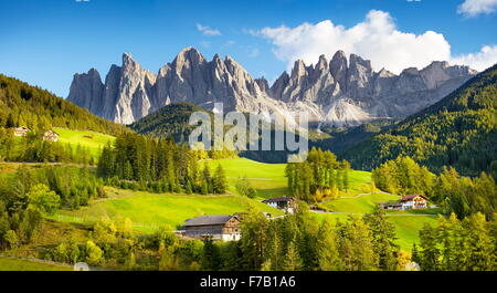 Santa Maddalena, Dolomites Mountains landscape, Tyrol, Alps, Italy - Stock Photo