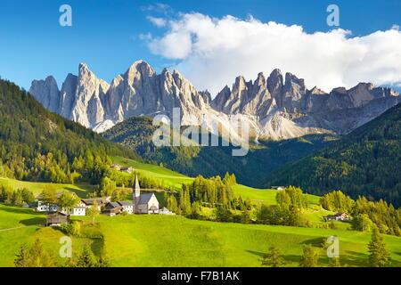 Santa Maddalena, Val Di Funes, Dolomites Mountains, Tyrol, Alps, Italy - Stock Photo