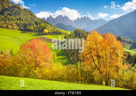 Val Di Funes in autumn colour, Dolomites Mountains, Tyrol, Alps, Italy - Stock Photo