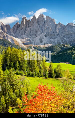 Val Di Funes in autumn colour, Tyrol, Dolomites Mountains, Alps, Italy - Stock Photo