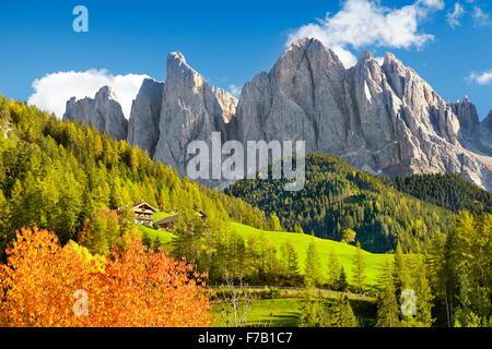 Autumn landscape in Dolomites Mountains, Val Di Funes, European Alps, Tyrol, Italy - Stock Photo