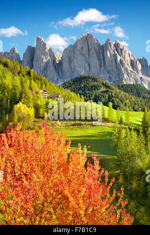 Dolomites Mountains, autumn landscape, Val Di Funes, Alps, Tyrol, Italy - Stock Photo