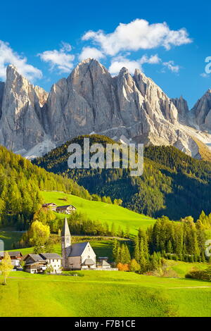 Small church in Santa Maddalena village, Dolomites Mountains, Tyrol, Italy - Stock Photo