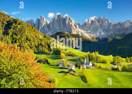 Dolomites Mountains in autumn - Santa Maddalena Village, Puez Odle Nature Park, European Alps, South Tyrol, Italy - Stock Photo