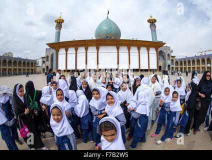 Veiled Veiled Muslim Shiite Schoolgirls In Front Of The Shah-e-cheragh Mausoleum, Fars Province, Shiraz, Iran - Stock Photo