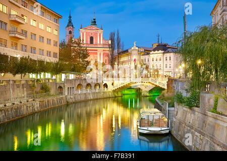 Ljubljana at evening time, Slovenia - Stock Photo