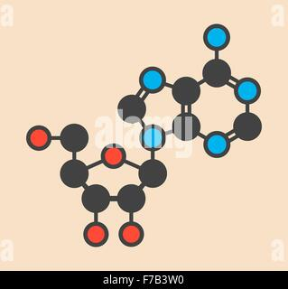 Adenosine (Ado) purine nucleoside molecule. Important component of ATP, ADP, cAMP and RNA. Also used as drug. Stylized - Stock Photo