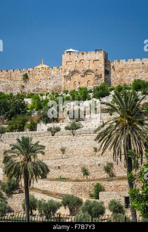 A view of the Eastern Gate across the Kidron Valley in Jerusalem, Israel, Middle East. - Stock Photo