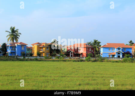 Colorful Villas on rent at Benaulim Goa india - Stock Photo