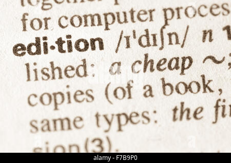 Definition Of Word Edition In Dictionary   Stock Photo