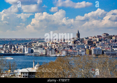 View of Galata and Golden Horn bay from Topkapi Palace on a beautiful day - Stock Photo