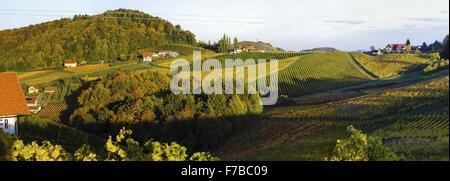 Suedsteirische Weinstrasse, Southern Styria wine route in autumn, Austria, Styria, Southern Styria - Stock Photo
