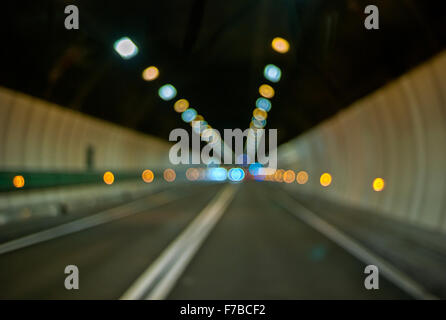 Blurred lights of The Mont Blanc Tunnel  in the Alps - Stock Photo