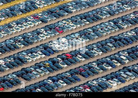 Car Importer, car trade, large parking, car sales, new car, car warehouse, Zülpich, Autoimport EU Cart RE-Import - Stock Photo