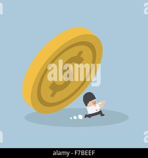 Businessman running away from falling dollar coin, VECTOR, EPS10 - Stock Photo