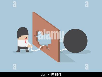 Turn crisis into opportunity, Businessman use metal ball with chain destroy the wall - Stock Photo