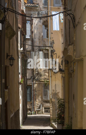 An old back street in Corfu Town. Corfu - Stock Photo