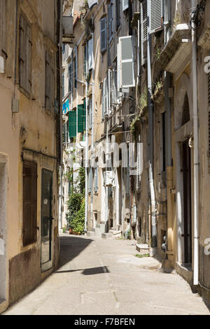 A back street in Corfu Town. Corfu - Stock Photo