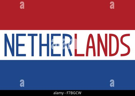 Flag of the Netherlands and word Netherlands - Stock Photo