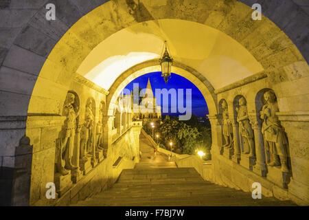 Budapest, Fishermans Bastion, Halaszbastya, architecture Frigyes Schulek, parliament, Hungary - Stock Photo