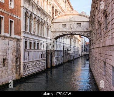Venice, Italy, Bridge of Sighs,  Ponte dei Sospiri covered crossing over the Rio di Palazzo from Doges Palace to - Stock Photo