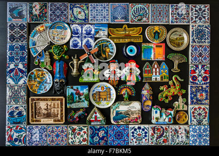 Collection of fridge magnets from many locations in different countries (Turkey, Greece, Egypt, Portugal, Spain, - Stock Photo