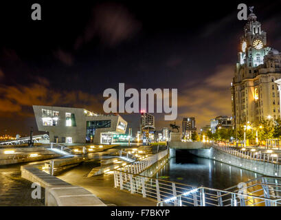 Liverpool's Royal Liver Building at night, Pier Head, Merseyside, England, United Kingdom, - Stock Photo