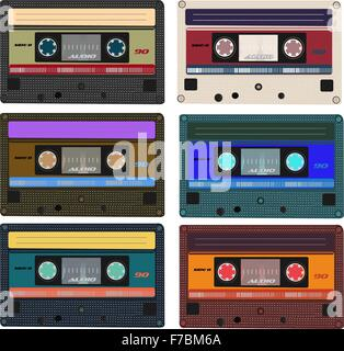 Collection of vector retro audio cassettes. Set of different colorful music tapes. Isolated on white background. - Stock Photo
