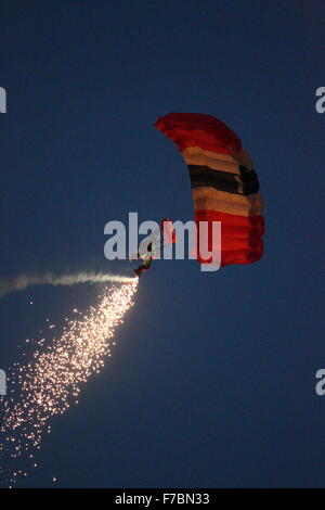 Red Devils Parachute display team at the Bournemouth Air Festival 2013 - Stock Photo