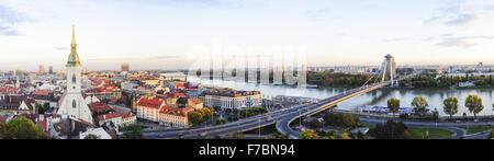 Bratislava, Coronation Church, bridge Novi Most, Slovak Republic - Stock Photo