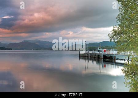 Steamer and Ferry Landing on Ullswater Lake, Pooley Bridge, Lake District National Park, Cumbria, England, Uk, Gb - Stock Photo