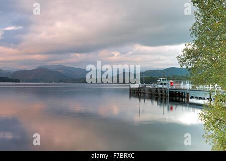 Steamer and Ferry Landing on Ullswater Lake, Pooley Bridge, Lake District National Park, Cumbria, England, Uk, Gb