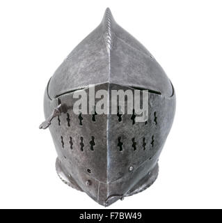 Warrier's Armour Helmet On A White Background - Stock Photo