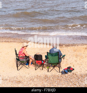 People enjoying the beach in Southwold , Suffolk , England , Britain , Uk - Stock Photo