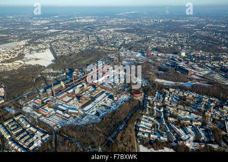 World Heritage Zeche Zollverein, Zollverein with ice rink, snow, winter, Essen, Ruhr area, North Rhine-Westphalia, - Stock Photo
