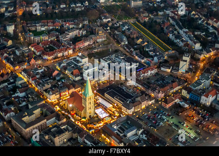 Paulus Church, St. Paul's Church with Hammer Christmas market, ice rink, downtown Hamm, Night Scene, Hamm, Ruhr - Stock Photo