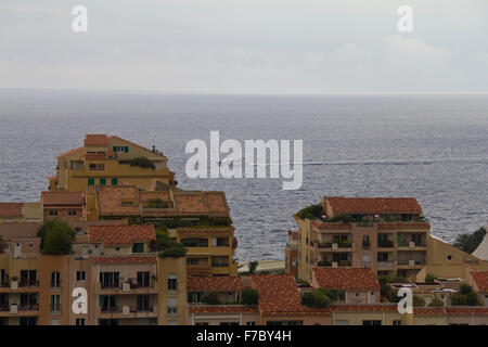 View on the sea with boat over Monaco - Stock Photo