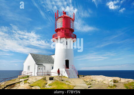 Lighthouse at Lindesnes, Norway Stock Photo