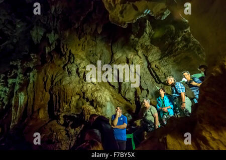 Tourists roam the caves, caves of the Indians, Cueva del Indio, underground caves with a Wassserlauf, caves of the - Stock Photo