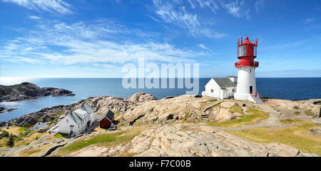 Landscape with lighthouse at Lindesnes, Norway Stock Photo