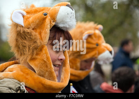 London, UK. 28th Nov, 2015. Protesters wearing lion's head costumes on the March for Cecil in London against canned - Stock Photo
