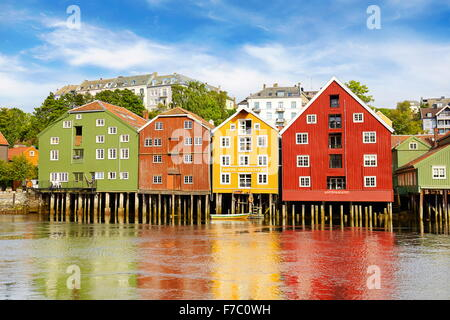 Colorful historic storage houses in Trondheim, Norway - Stock Photo