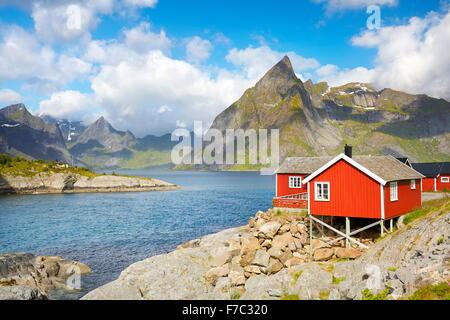 Traditional red fishermen house rorbu, Lofoten Islands, Norway - Stock Photo