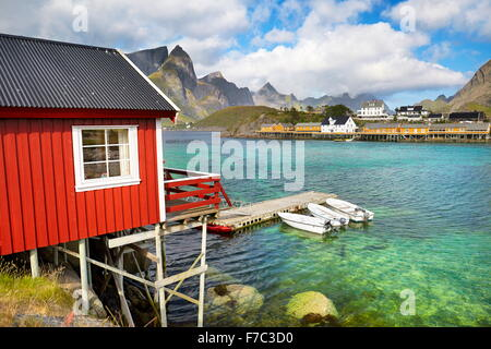 Lofoten Islands, traditional red fishermen`s huts Rorbu, Norway - Stock Photo