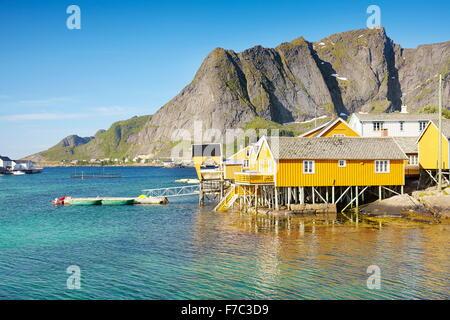 Taditional fishermen houses rorbu, Lofoten Islands, Norway - Stock Photo